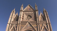 Orvieto cathedral front view Stock Footage