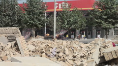 Demolished house seen from inside in Xinjiang, China Stock Footage