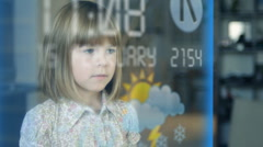 Stock video footage Girl Communications Touchscreen Technology virtual screen Stock Footage