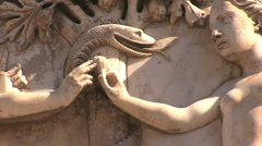 Orvieto carving snake Stock Footage