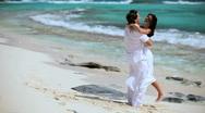 Happy Couple Enjoying Paradise Vacation Stock Footage