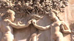 Orvieto carving Adam and Eve zooms Stock Footage