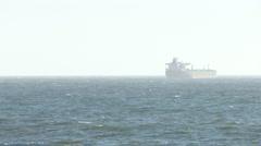 Huge Ocean Liner Cargo Ship Oil Tanker off California Coast - stock footage