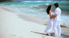 Caucasian Couple Laughing on Paradise Beach - stock footage