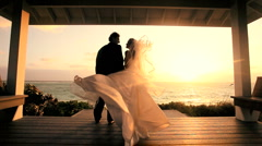 Attractive Couple Sunset Island Wedding Stock Footage