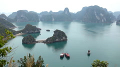 Ha Long Bay (Descending Dragon Bay), Vietnam, UNESCO World Heritage Site, Boats - stock footage