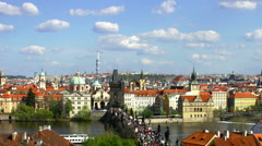 Charles Bridge and Old Town in Prague, Czech Republic time lapse Stock Footage