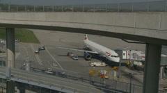 British Airways plane in Heathrow airport Stock Footage