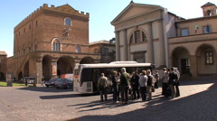 Italy Orvieto tourists at bus Stock Footage