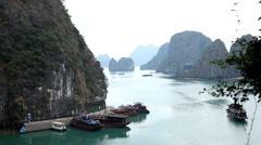 Ha Long Bay (Descending Dragon Bay), Vietnam, UNESCO World Heritage Site, Boats - stock footage