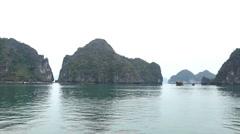 Junk Boat Trip POV in Ha Long Bay (Descending Dragon Bay), Vietnam, Cruise Ship - stock footage