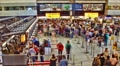 Schiphol  airport, long line wait at the passport check, Amsterdam, Holland HD Footage