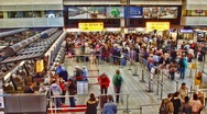 Schiphol  airport, long line wait at the passport check, Amsterdam, Holland Stock Footage