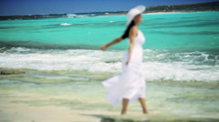 Young Caucasian Female Loving her Island Lifestyle - stock footage