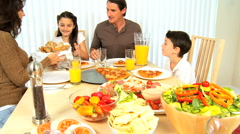 Young Family Healthy Eating Together Stock Footage