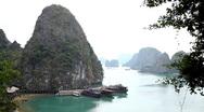 Ha Long Bay (Descending Dragon Bay), Vietnam, UNESCO World Heritage Site, Boats Stock Footage