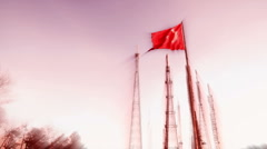 Turkish Flag in red Stock Footage