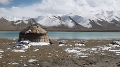 Traditional yurt at Karakul lake, Western China Stock Footage