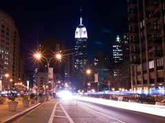 New York Skyline Empire State Building Time-lapse Night Traffic - 320x240 Stock Footage