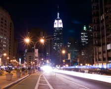 New York Skyline Empire State Building Time-lapse Night Traffic - PAL Stock Footage