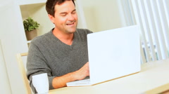 Relaxed Young Male Using Online Webchat - stock footage