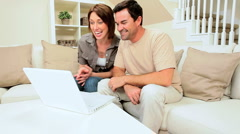 Young Caucasian Couple Using Internet Webchat Stock Footage