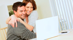 Young Couple Success With Financial Planning Stock Footage