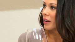 Close up of Brunette Female with Wineglass - stock footage
