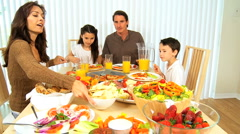 Family Healthy Meal Time Together Stock Footage
