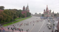 Participants run along Kremlin near Red Square, XXX MOSCOW INTERNATIONAL PEACE Stock Footage