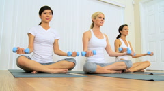 Trio of Females at Fitness Studio Stock Footage