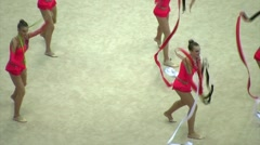 Gymnasts with ribbons on XXX World Rhythmic Gymnastics Championships - stock footage