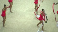 Stock Video Footage of Gymnasts with ribbons on XXX World Rhythmic Gymnastics Championships