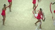Gymnasts with ribbons on XXX World Rhythmic Gymnastics Championships Stock Footage