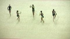 Gymnasts with hoops on XXX World Rhythmic Gymnastics Championship. - stock footage