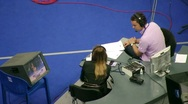 Commentators make comments XXX World Rhythmic Gymnastics Championships Stock Footage