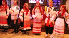 Russian folklore ensemble Obereg sings song Stock Footage