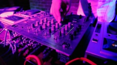 Close-up of pult behind which works the Dj. Stock Footage