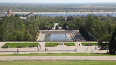People walk on descent of Mamayev Kurgan in Volgograd. Stock Footage