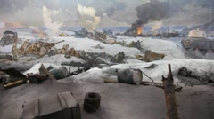 Artistic panorama Defeat of the Fascists Armies at Stalingrad Stock Footage