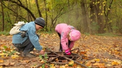 Children search for something in the hatch in park. Stock Footage