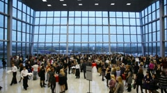 People are in modern hall of Crocus Expo IEC. Stock Footage