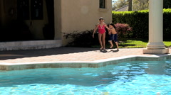 Healthy Children Swimming Lifestyle Stock Footage