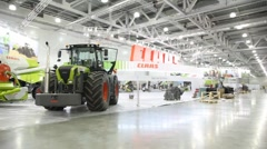 Agricultural machinery on AGROSALON Exhibition. Stock Footage