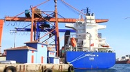 Harbor with containers and cranes Stock Footage