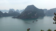 Ha Long Bay (Descending Dragon Bay), Vietnam, UNESCO World Heritage Site, Boats Stock Footage