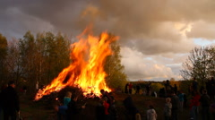 People around a bonfire - stock footage