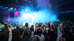 Spectators applaud to Sergey Lazarev appears on stage Stock Footage