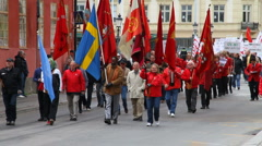 May 1 protests in Sweden Stock Footage