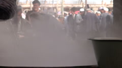 Steamy bowl of soup on a rural Chinese market Stock Footage